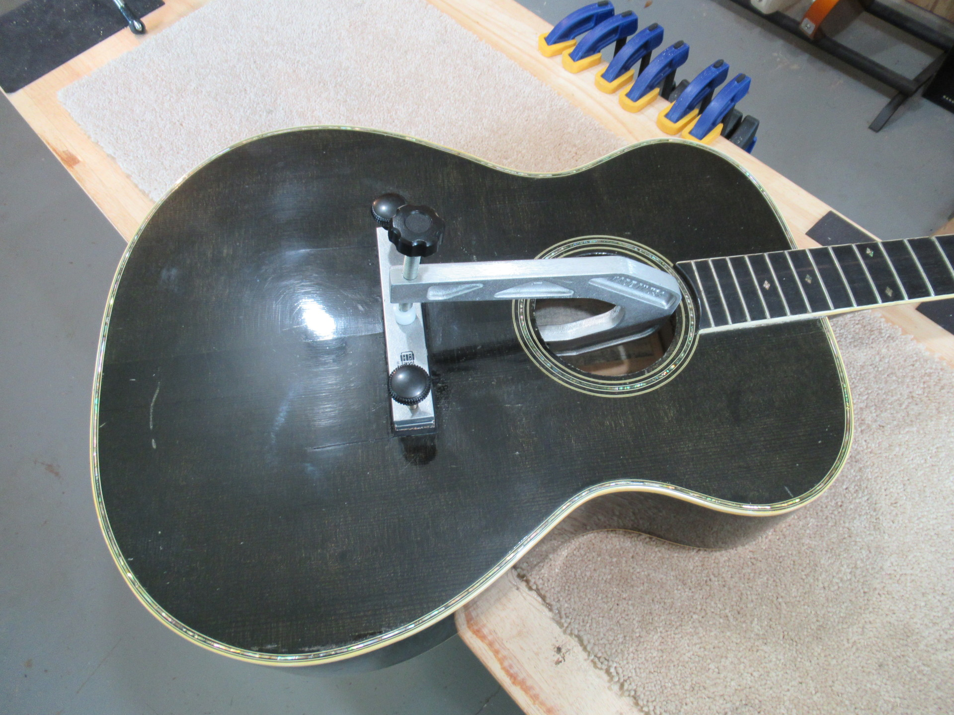 Bridge replacement on 1978 Ferrington SN#9 formerly owned by Johnny Cash at The Fret Shack